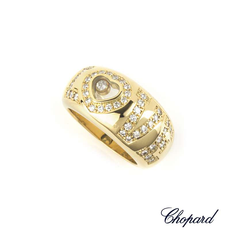 Chopard 18k Yellow Gold Happy Diamonds Love Ring 82/2850